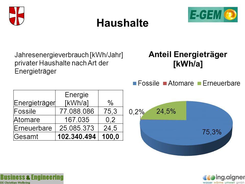 Haushalte Jahresenergieverbrauch [kWh/Jahr] privater Haushalte nach Art der Energieträger. Energieträger.